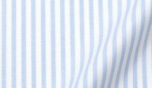 Fabric swatch of Thomas Mason Light Blue Stripe Oxford Fabric